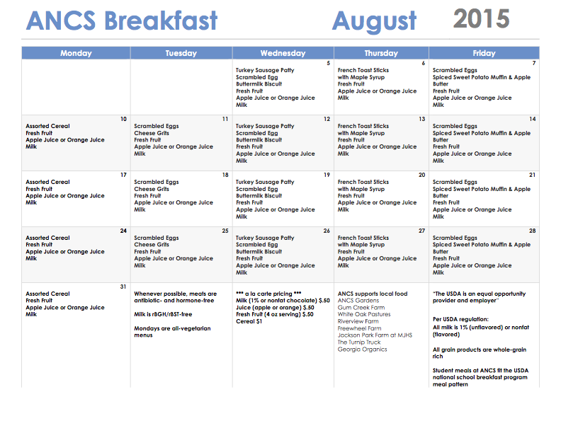 ANCS breakfast menu august 2015
