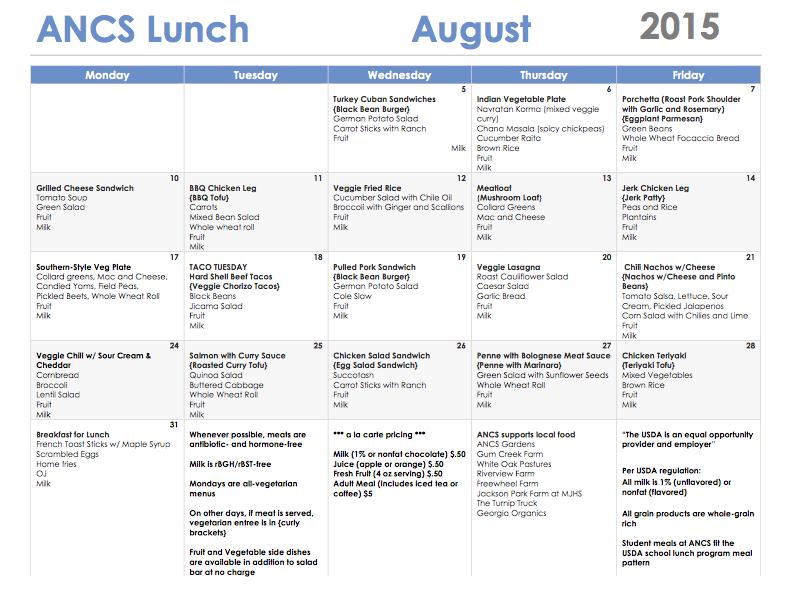 ANCS lunch menu august 2015