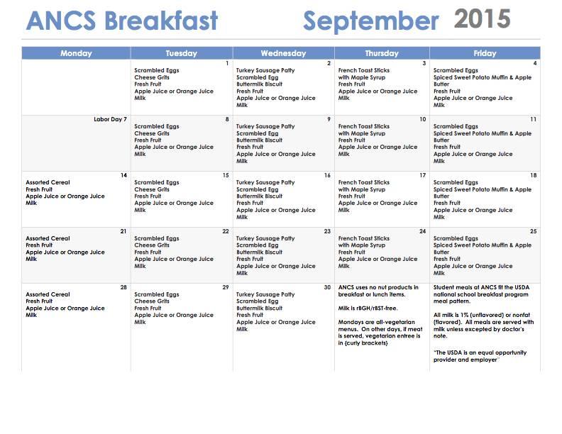 ANCS breakfast menu september 2015