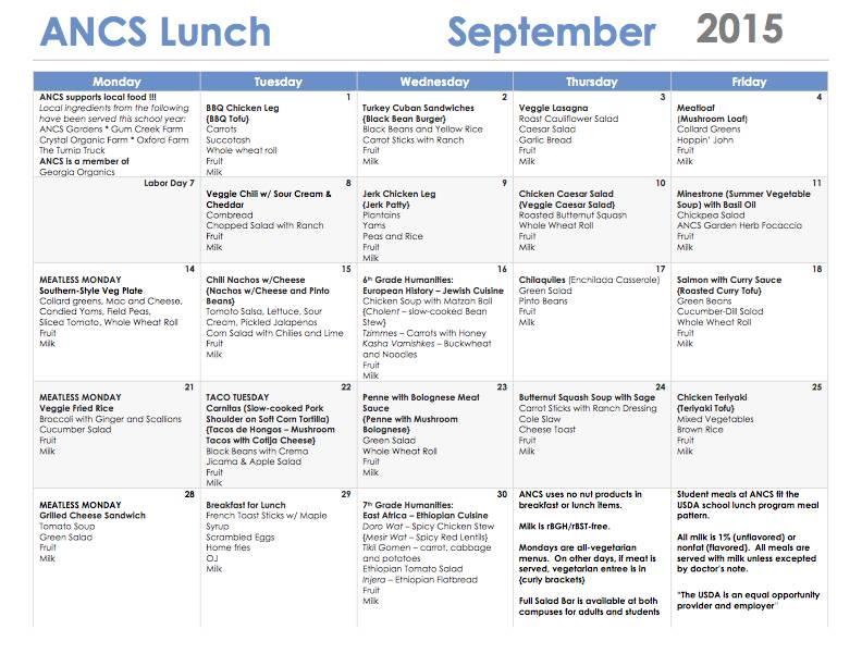 ANCS lunch menu september 2015
