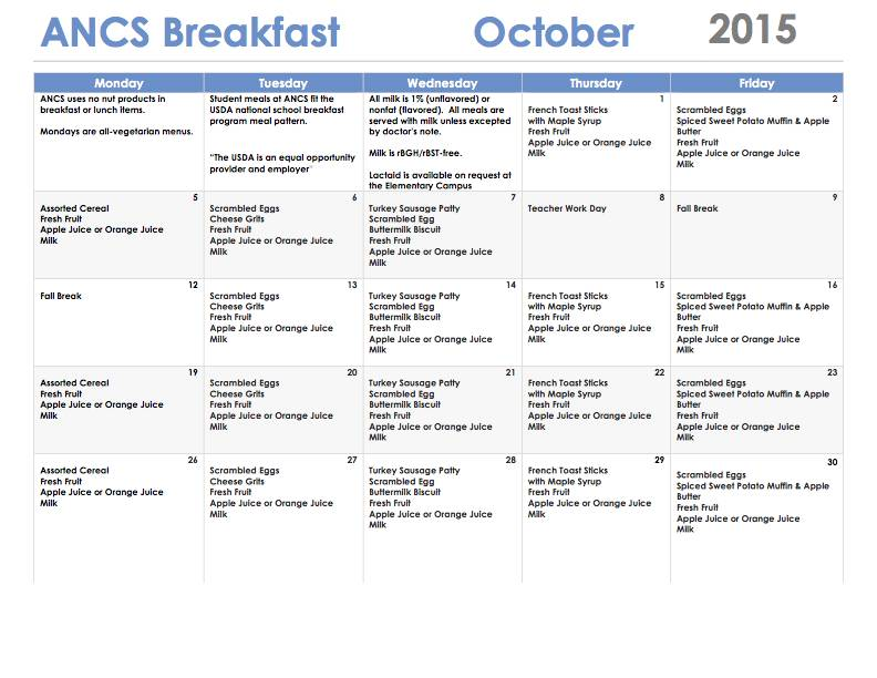 ANCS breakfast menu october 2015