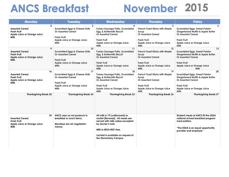ANCS breakfast menu november 2015