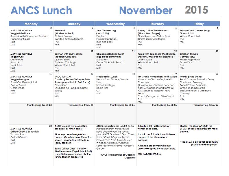 ANCS lunch menu november 2015