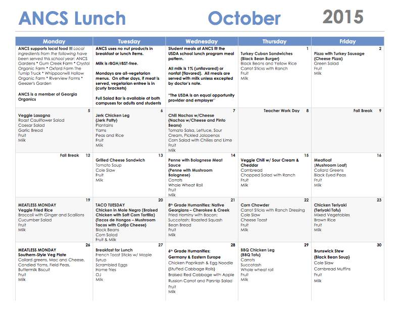 ANCS lunch menu october 2015