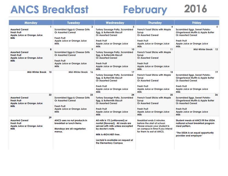 ANCS breakfast menu february 2016