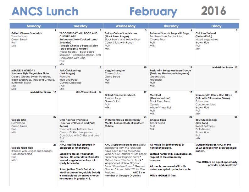 ANCS lunch menu february 2016
