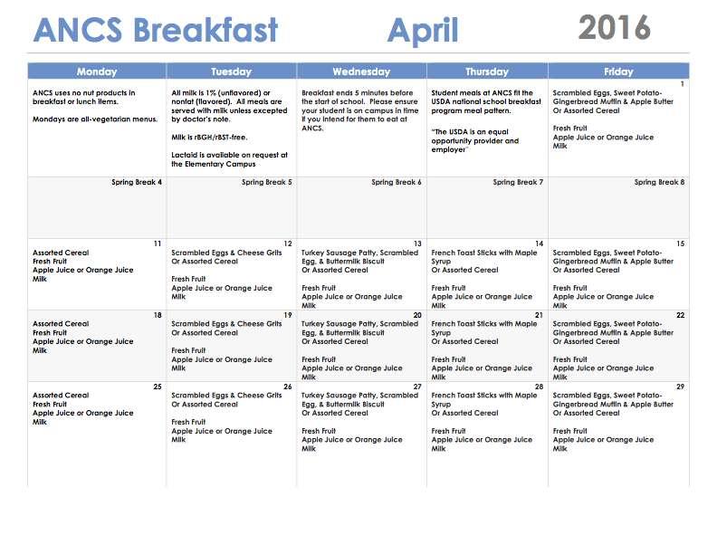 ANCS breakfast menu april 2016