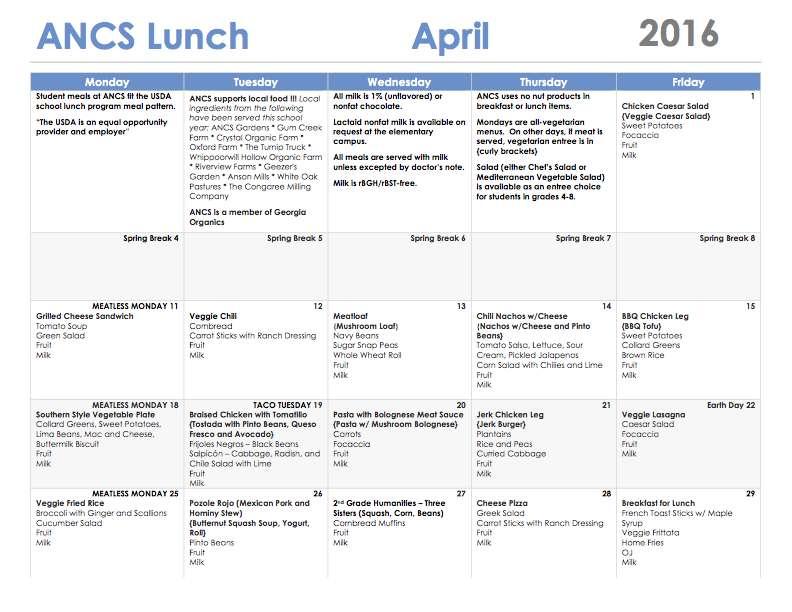 ANCS lunch menu april 2016