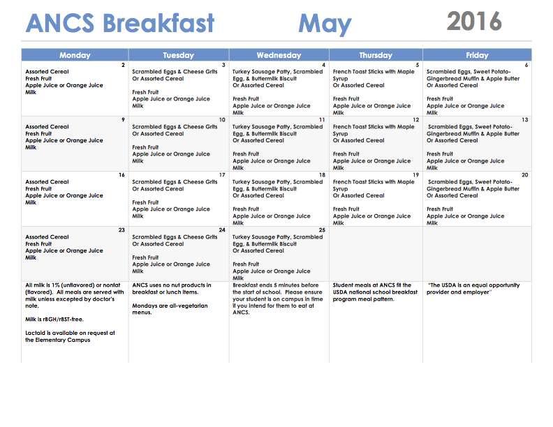 ANCS breakfast menu may 2016