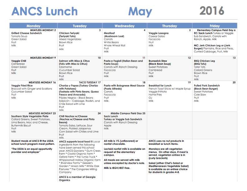 ANCS lunch menu may 2016