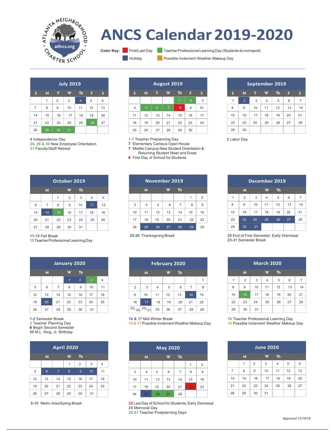 Gegia Calendario.Ancs 2019 2020 School Year Calendar Atlanta Neighborhood