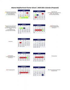 Atlanta Calendar 2021 Proposed 2020 2021 Calendar   Atlanta Neighborhood Charter School